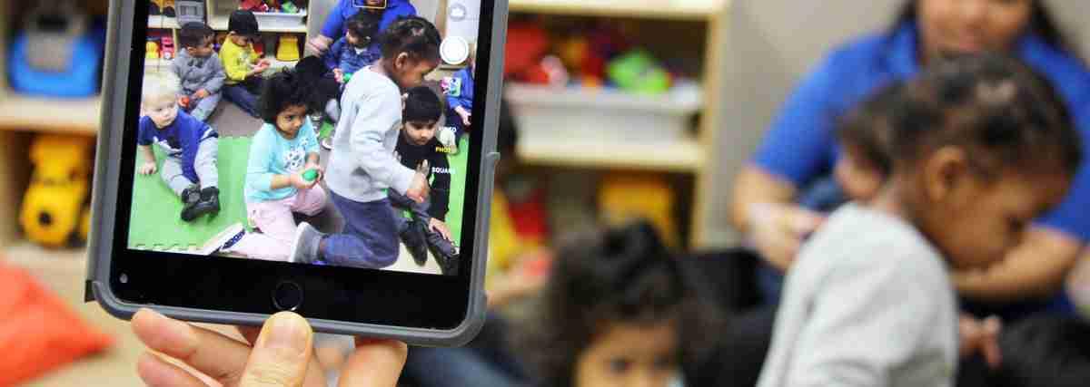 iPad recording preschoolers' activities in classroom