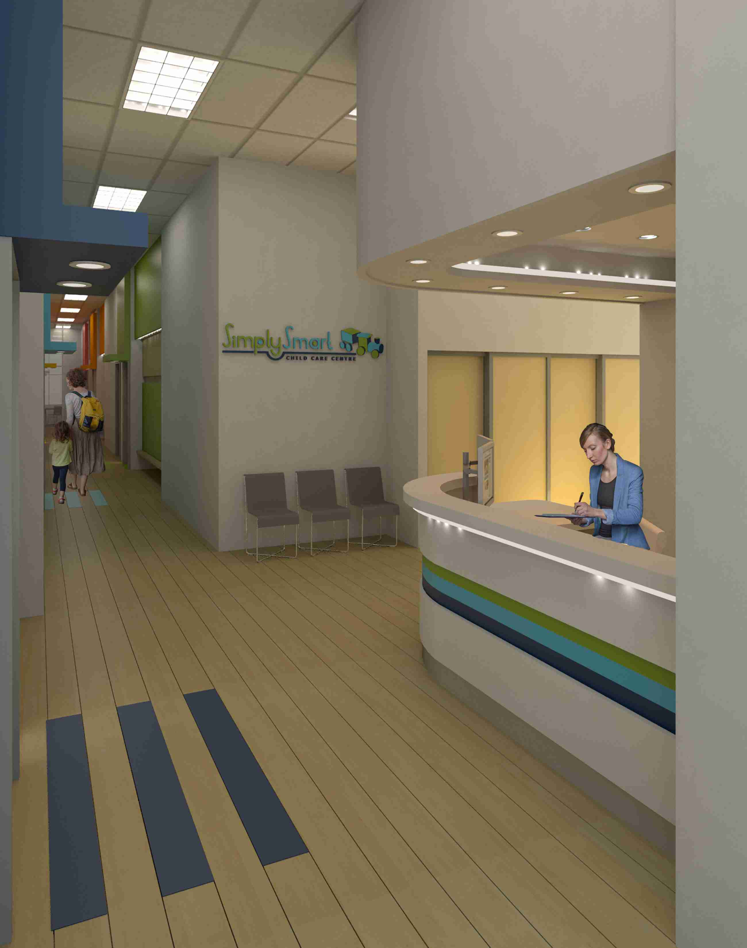 Entrance area of SimplySmart Child Care Centre showing reception area