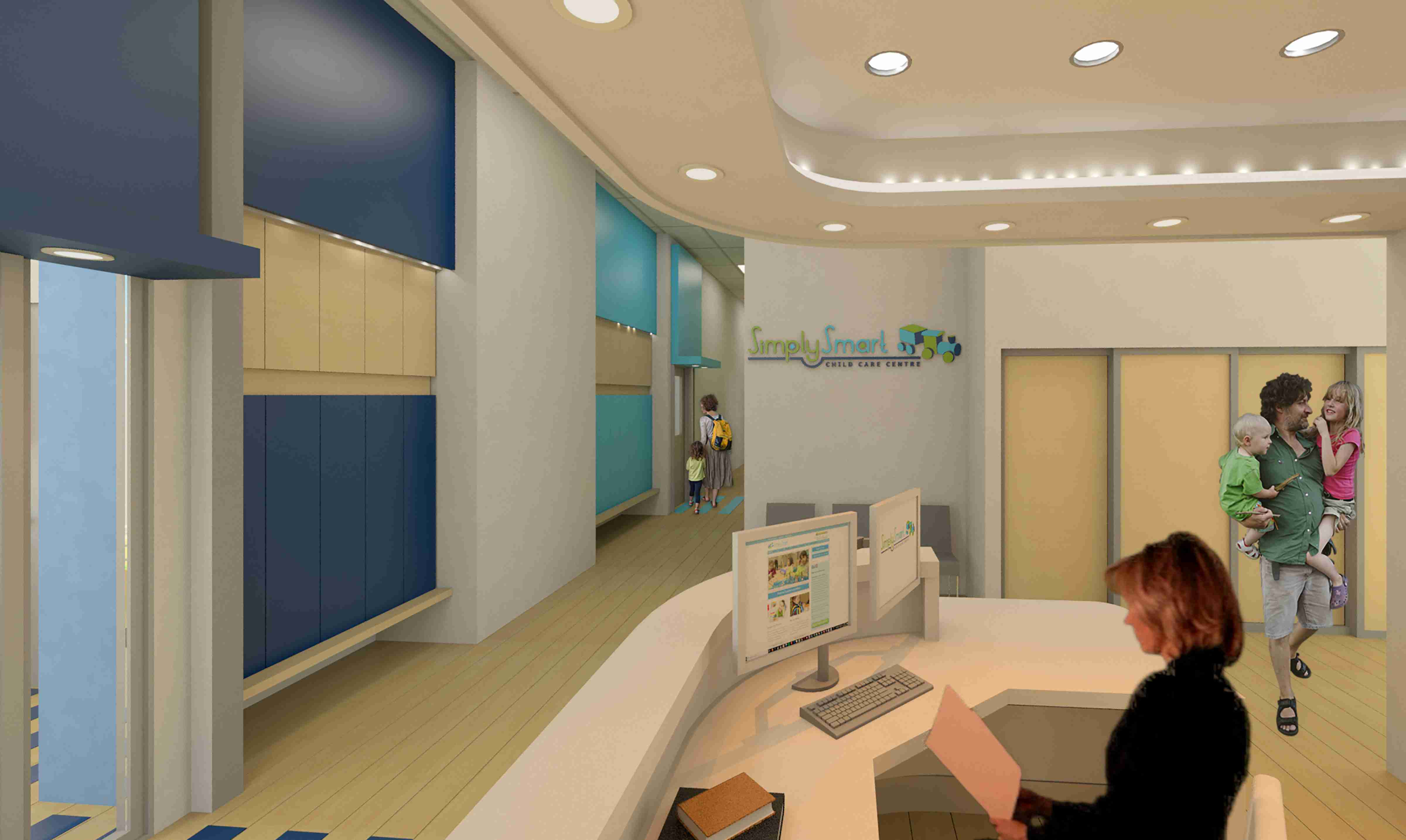 Reception area of SimplySmart Child Care showing staff and parents with children