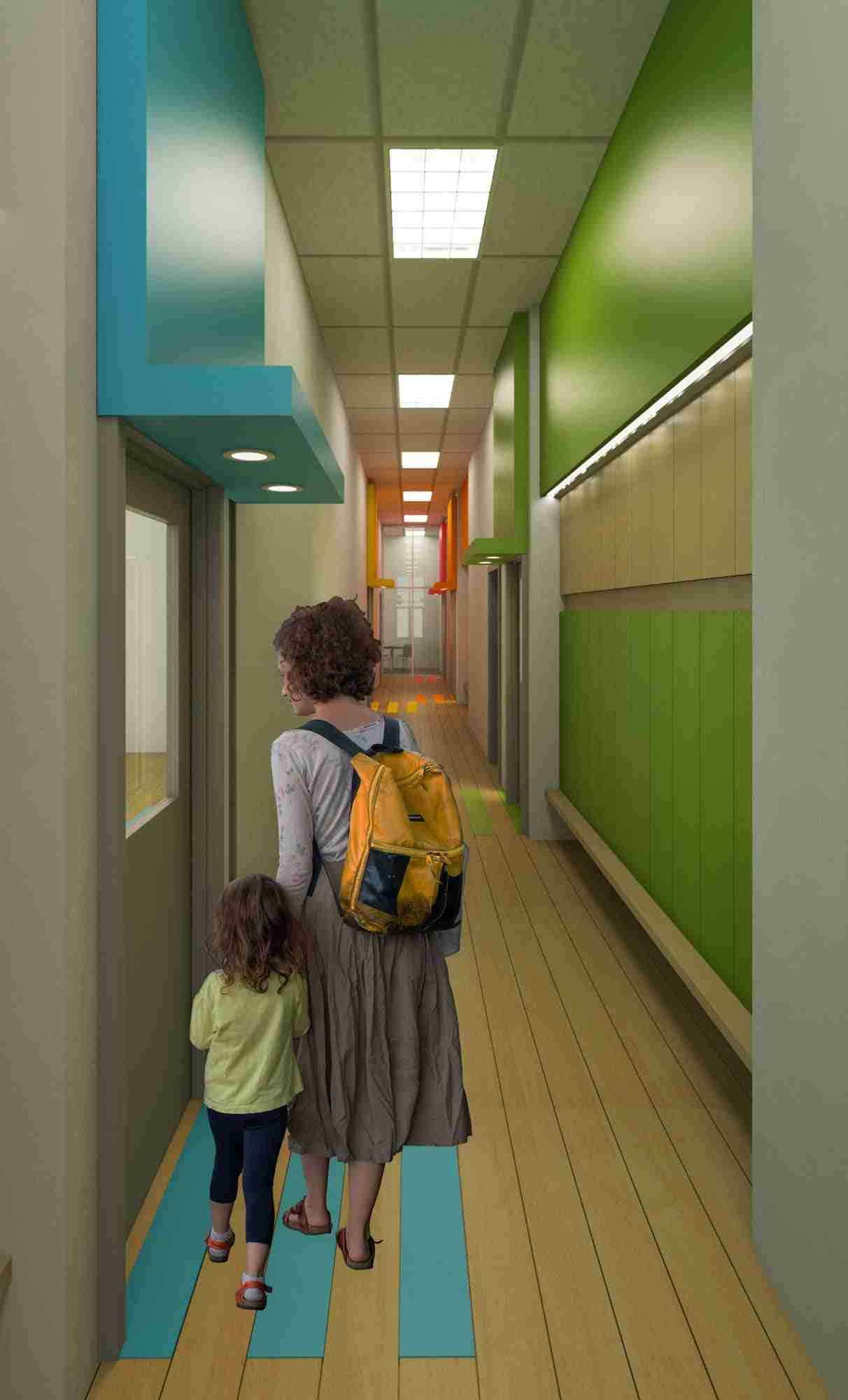 View of corridor showing mother and child