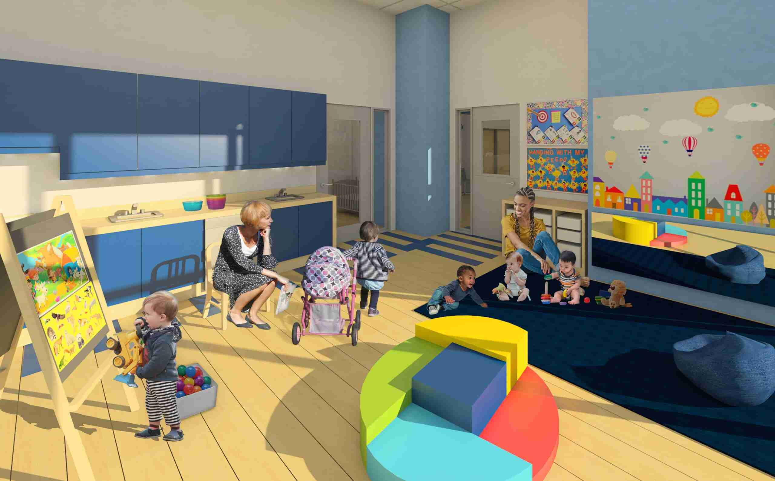 Play room showing infants playing with educational toys