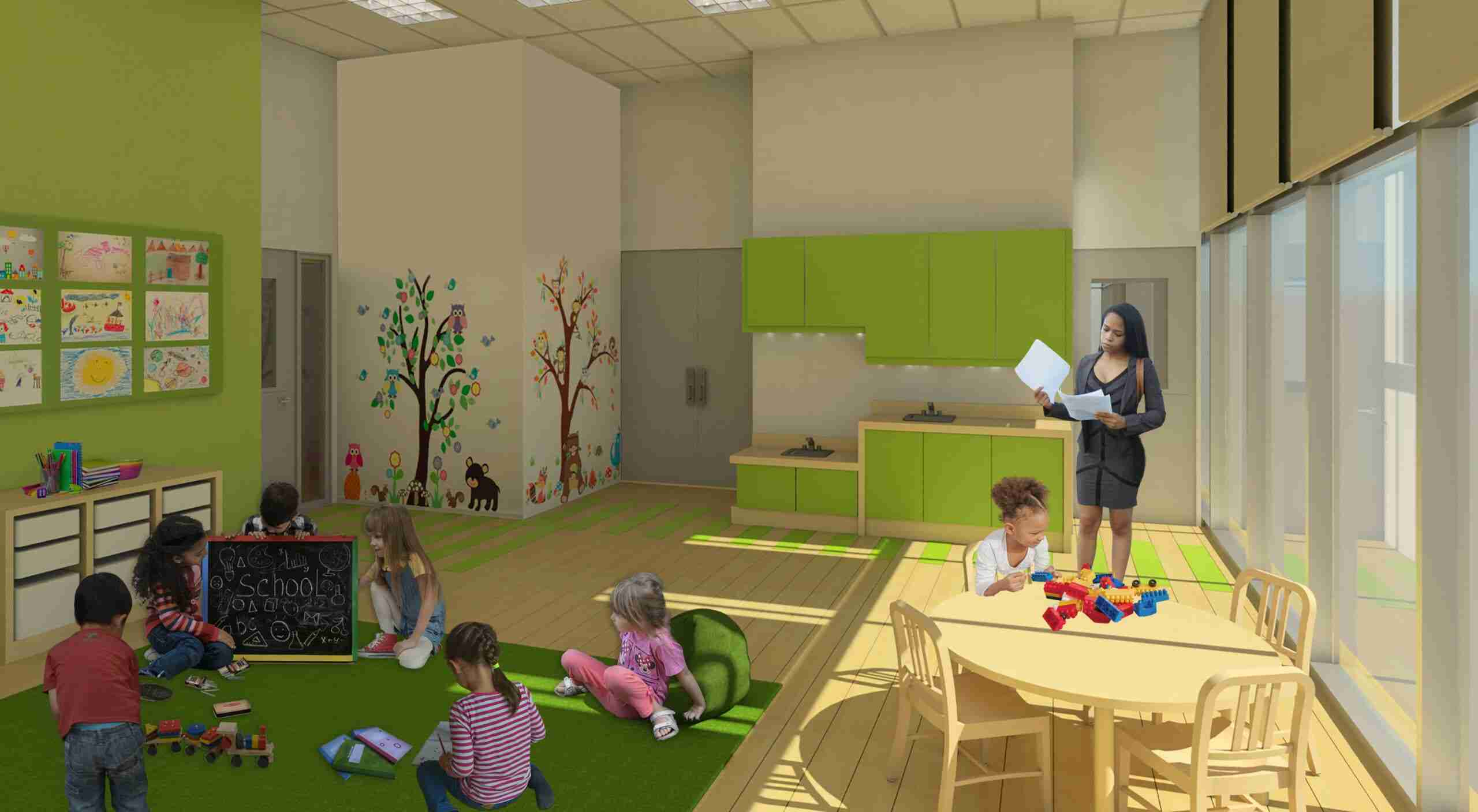 Play room showing preschoolers playing with educational toys