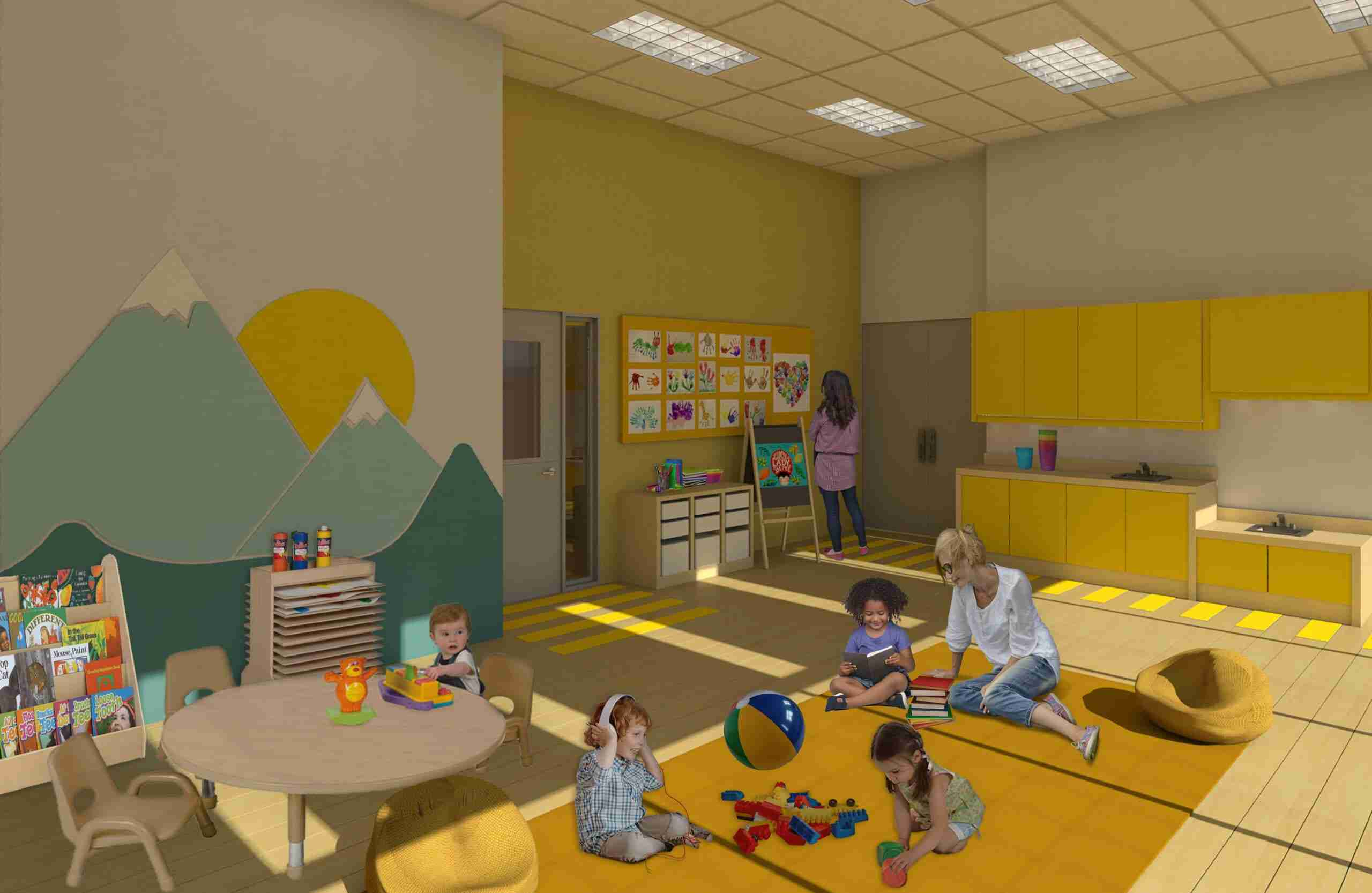 Play room showing toddlers playing with educational toys