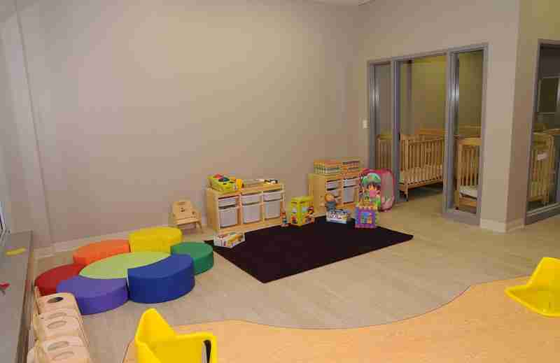 Interior of SimplySmart Child Care Centre showing colourful chairs and educational toys