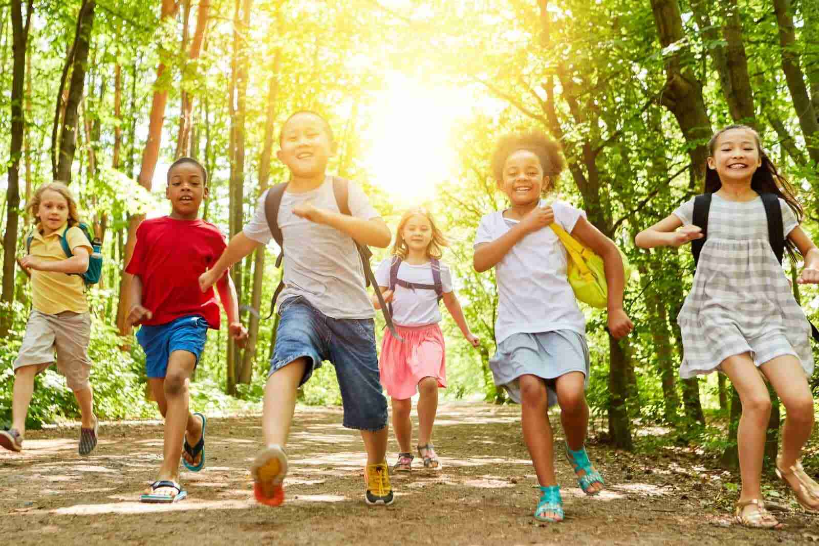 Group of kindergarteners ready for summer camp
